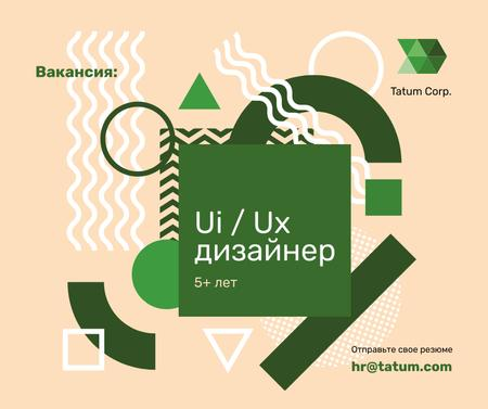 Job Offer on Geometric background in Green Facebook – шаблон для дизайна
