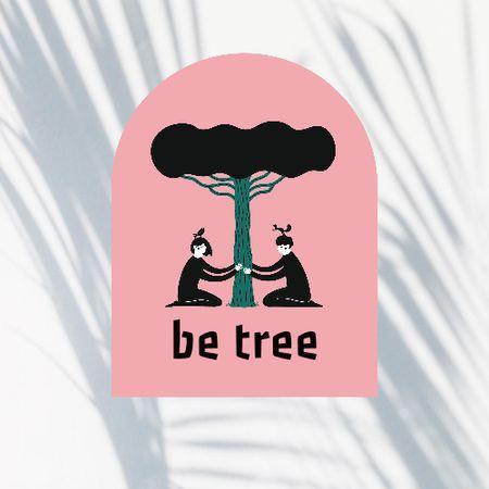 Modèle de visuel People sitting under Tree - Logo