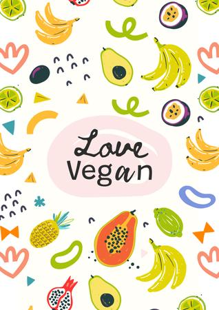 Modèle de visuel Vegan Lifestyle Concept with Fresh Fruits illustration - Poster