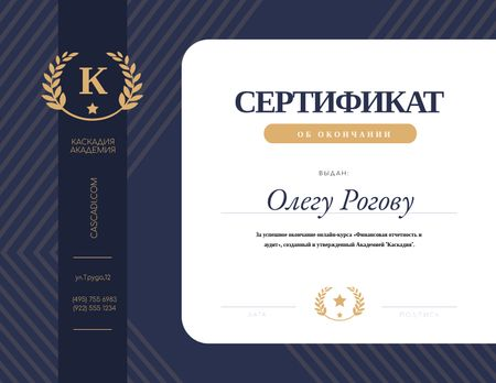 Financial Educational Program Completion in blue Certificate – шаблон для дизайна