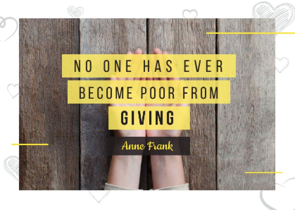 Citation about no one is poor — Créer un visuel