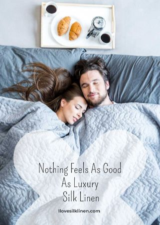 Plantilla de diseño de Bed Linen ad with Couple sleeping in bed Invitation