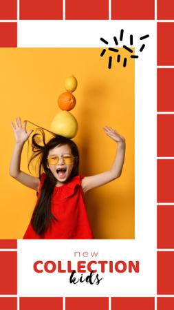 Plantilla de diseño de New Kids Collection Announcement with Funny Little Girl Instagram Story