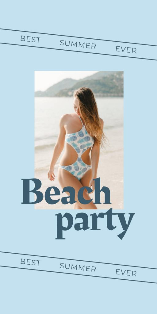 Summer Beach Party Announcement with Woman in Swimsuit Graphic Modelo de Design