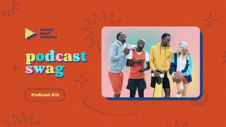 Comedy Podcast Announcement with Cheerful Friends Youtube Thumbnail Design Template