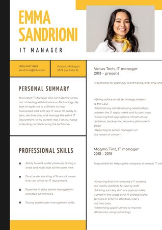 Template di design IT Manager professional skills and experience Resume