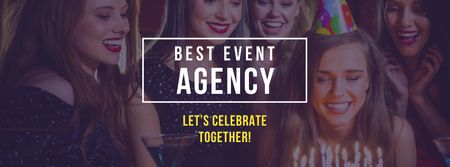 Event Agency Offer with Girls celebrating Birthday Facebook cover – шаблон для дизайна