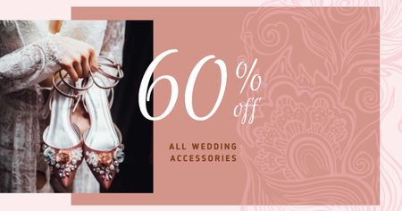 Wedding Accessories Offer with Stylish Shoes Facebook AD Tasarım Şablonu