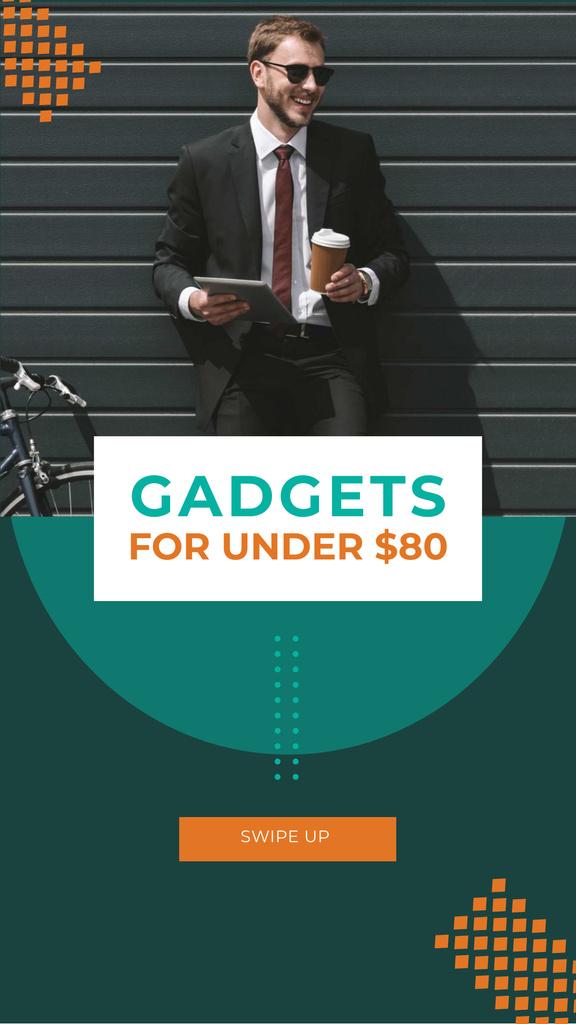 Gadgets Sale with Smiling Businessman Instagram Story Modelo de Design