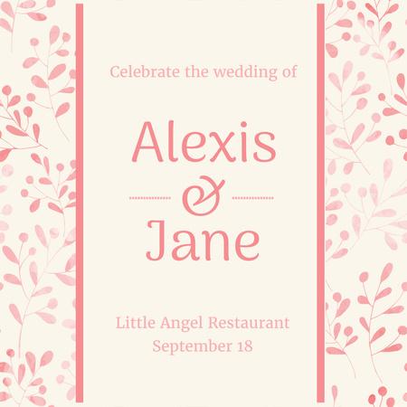 Plantilla de diseño de Wedding party Invitation on Leaves Pattern Instagram