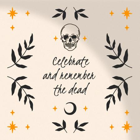 Day of the Dead Holiday Celebration with Skull and Stars Animated Post – шаблон для дизайна