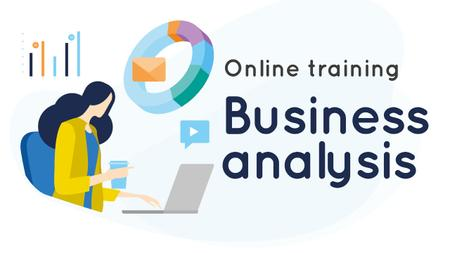 Designvorlage Business Analysis Courses Woman Working on Report für Youtube Thumbnail