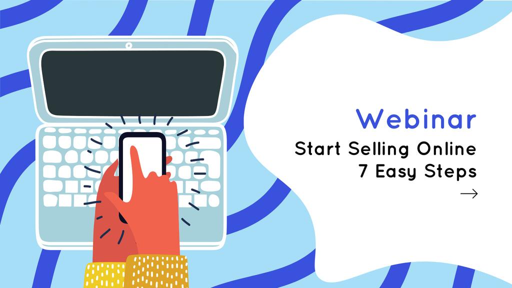 Webinar announcement with phone and laptop FB event cover – шаблон для дизайну