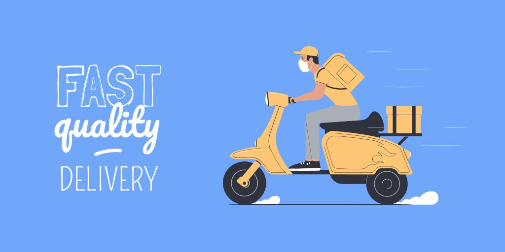 Delivery Services offer with courier on Scooter — Modelo de projeto