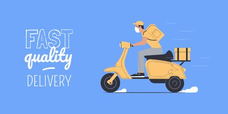 Plantilla de diseño de Delivery Services offer with courier on Scooter Twitter