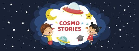 Plantilla de diseño de Cute Funny Kids in Space Facebook cover