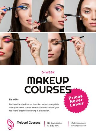 Beauty Courses with Beautician Applying Makeup Poster Modelo de Design