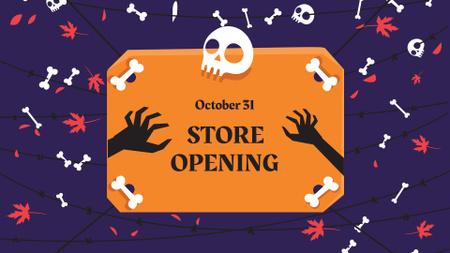 Ontwerpsjabloon van FB event cover van Halloween Store Opening Announcement