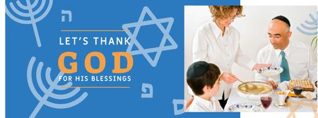 Plantilla de diseño de Hanukkah Celebration with Traditional Dinner Facebook cover