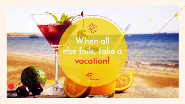 Ontwerpsjabloon van Title van Vacation Offer Cocktail at the Beach