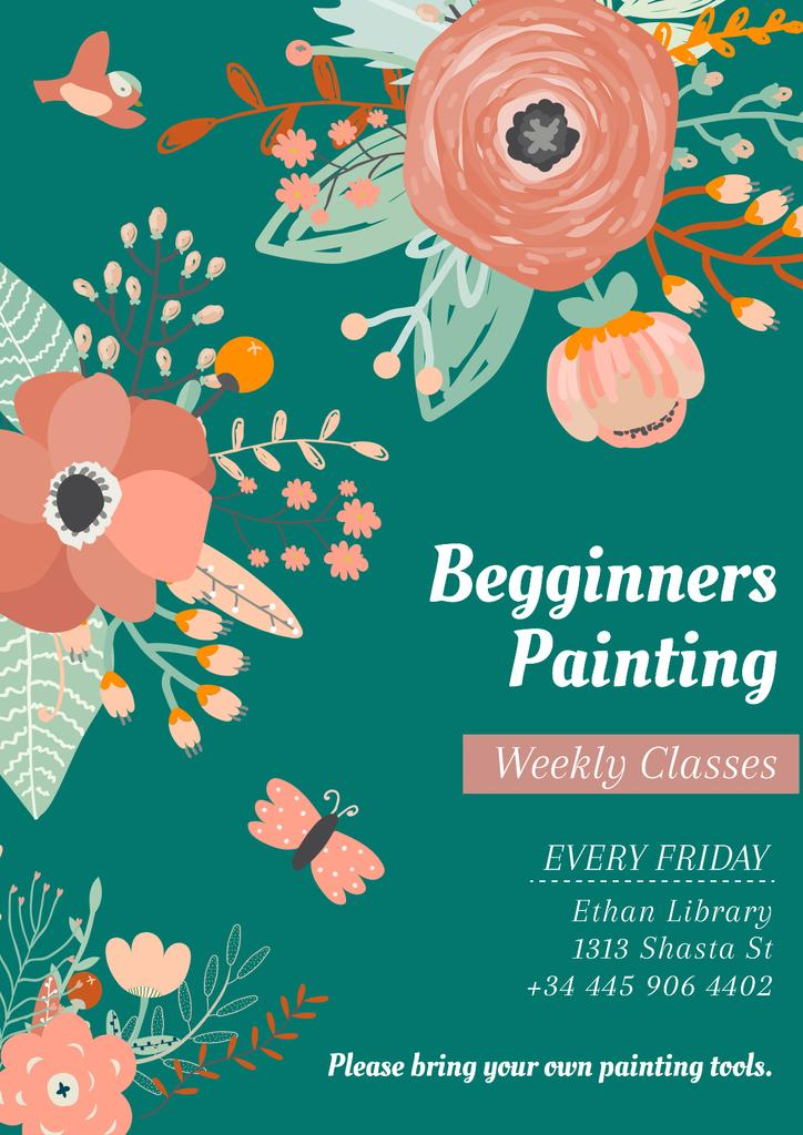 Painting Classes Ad with Tender Flowers Drawing — Modelo de projeto