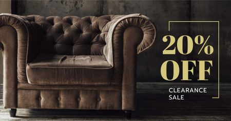 Furniture Store Sale Luxury Armchair in Brown Facebook AD Tasarım Şablonu