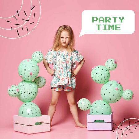 Party Announcement with Cute Little Girl Album Coverデザインテンプレート