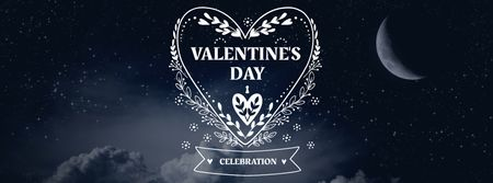 Plantilla de diseño de Valentine's Day Greeting with Night Sky Facebook cover