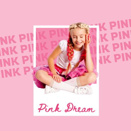 Modèle de visuel Cute Little Girl in Pink Outfit - Instagram