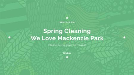 Spring Cleaning Event Invitation Green Floral Texture FB event cover Design Template
