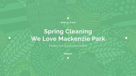 Spring Cleaning Event Invitation Green Floral Texture FB event cover Tasarım Şablonu