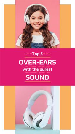 Headphones Sale Ad with Cute Girl Instagram Story Design Template