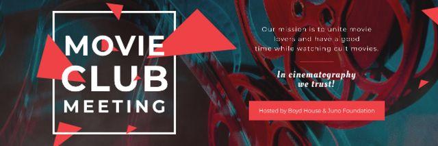 Movie Club Meeting with Vintage Projector Email header Tasarım Şablonu