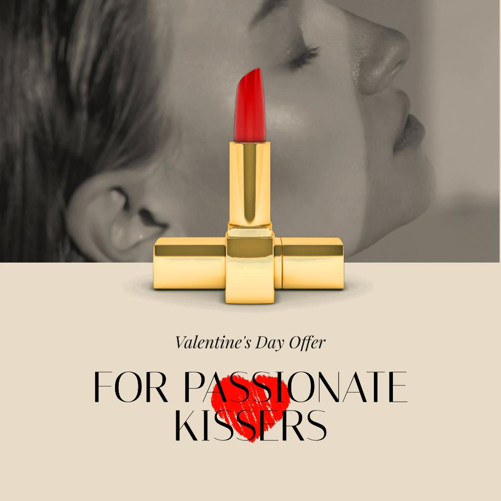 Valentine's Day Offer Woman with Red Lipstick — Modelo de projeto