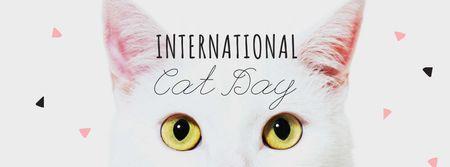 International Cat Day with Cute White Kitten Facebook cover Modelo de Design