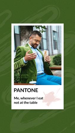 Funny Joke with Stylish Man in Dirty Shirt Instagram Story Modelo de Design