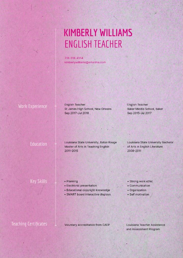 English Teacher skills and experience Resume – шаблон для дизайна