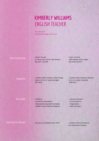 English Teacher skills and experience Resume – шаблон для дизайна