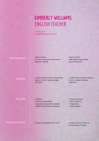 English Teacher skills and experience Resume Modelo de Design