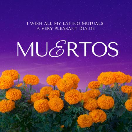 Dia de los Muertos Holiday Announcement with Orange Flowers Animated Post – шаблон для дизайна