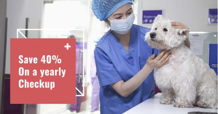 Ontwerpsjabloon van Facebook AD van Veterinarian examining Dog in Animal Hospital