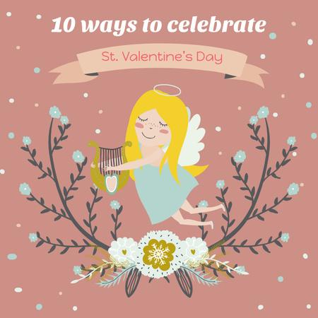 Plantilla de diseño de Valentine's day Greeting with Cute Girl Angel Instagram