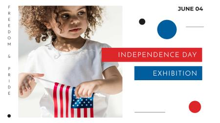 Modèle de visuel Independence Day Exhibition Announcement with Cute Girl - FB event cover