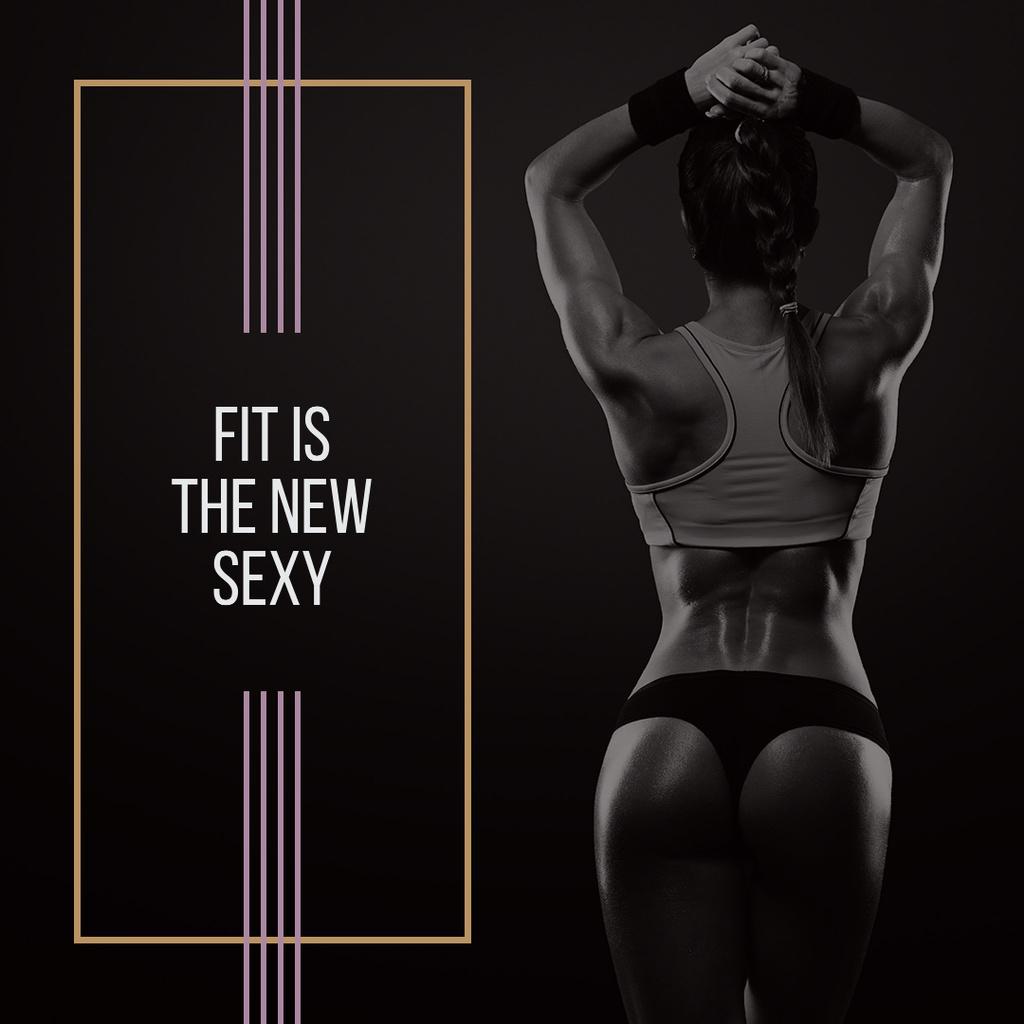 Plantilla de diseño de Sporty Young Woman with Motivational Quote Instagram