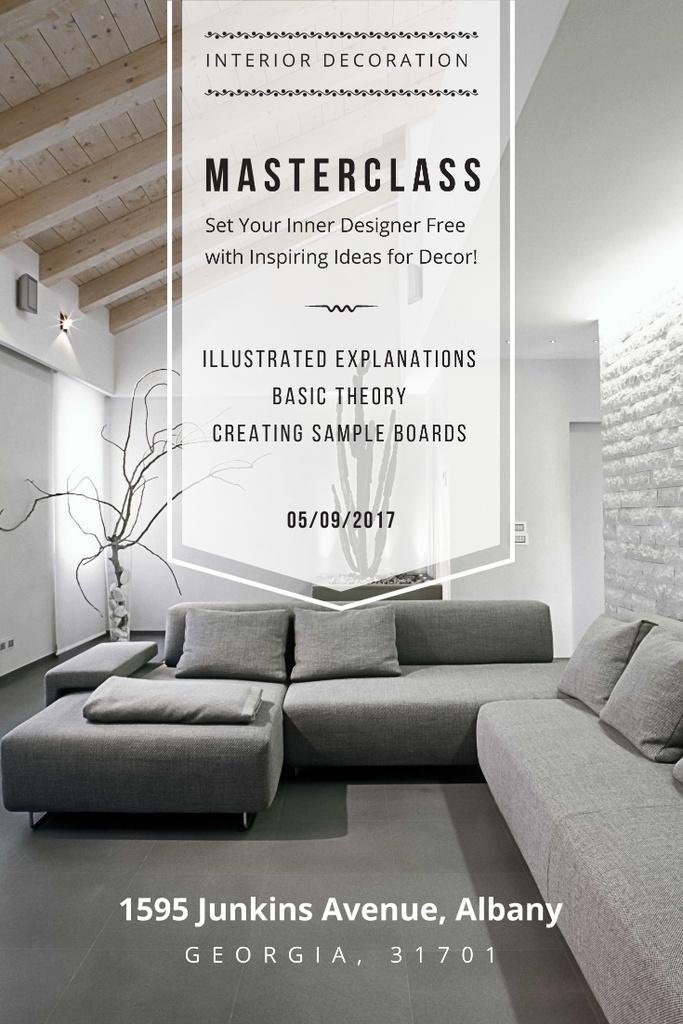 Interior Decoration Event Announcement with Sofa in Grey — Crea un design