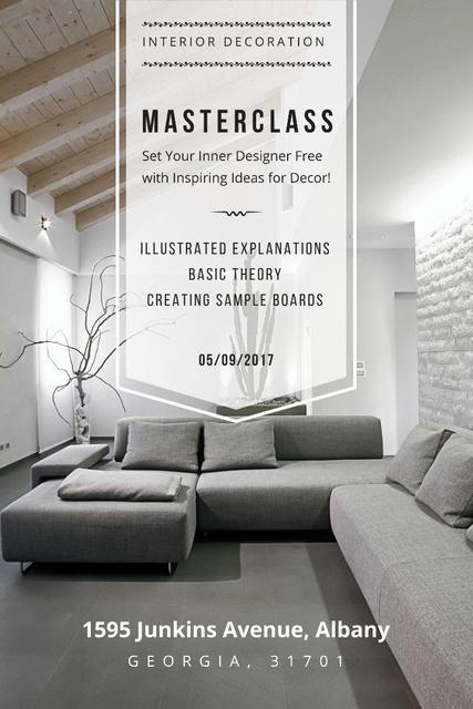 Interior Decoration Event Announcement with Sofa in Grey Pinterest Tasarım Şablonu