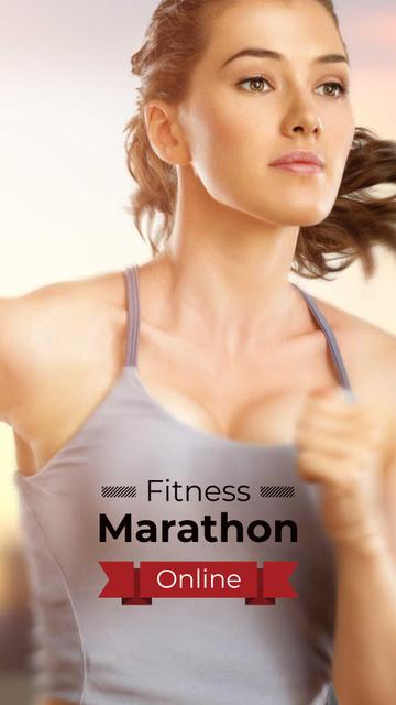 Online Marathon Ad with running Woman Instagram Story – шаблон для дизайну