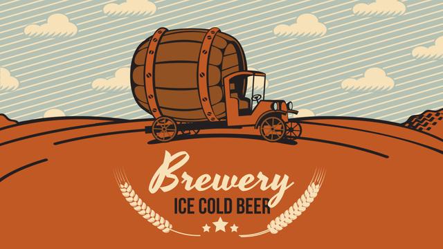 Brewery Ad Car Delivering Large Barrel Full HD video Tasarım Şablonu