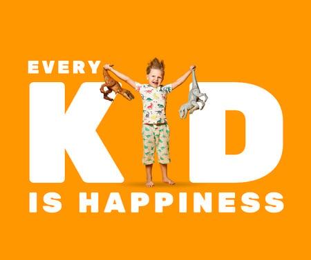 Cute Little Kid holding Toy Dinosaurs Facebook – шаблон для дизайна