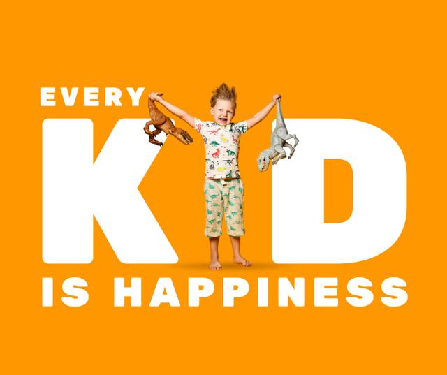 Ontwerpsjabloon van Facebook van Cute Little Kid holding Toy Dinosaurs